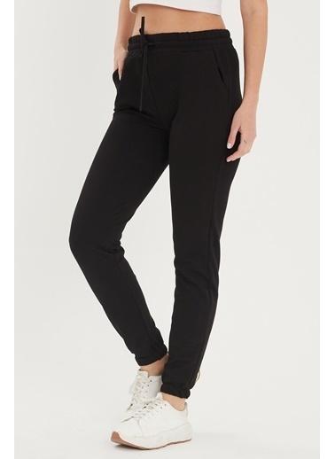 Viking Jeans Beli Ve Paçası Lastikli Cepli Eşofman Altı Siyah